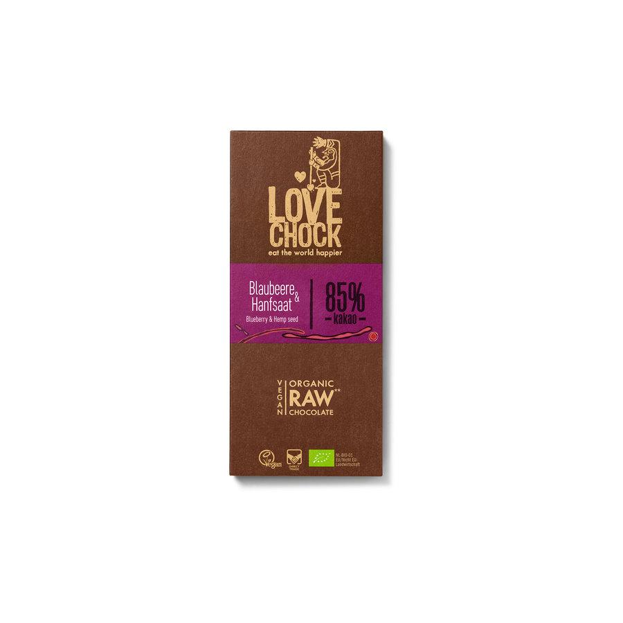 Čokoláda Lovechock- borůvky a konopná semínka