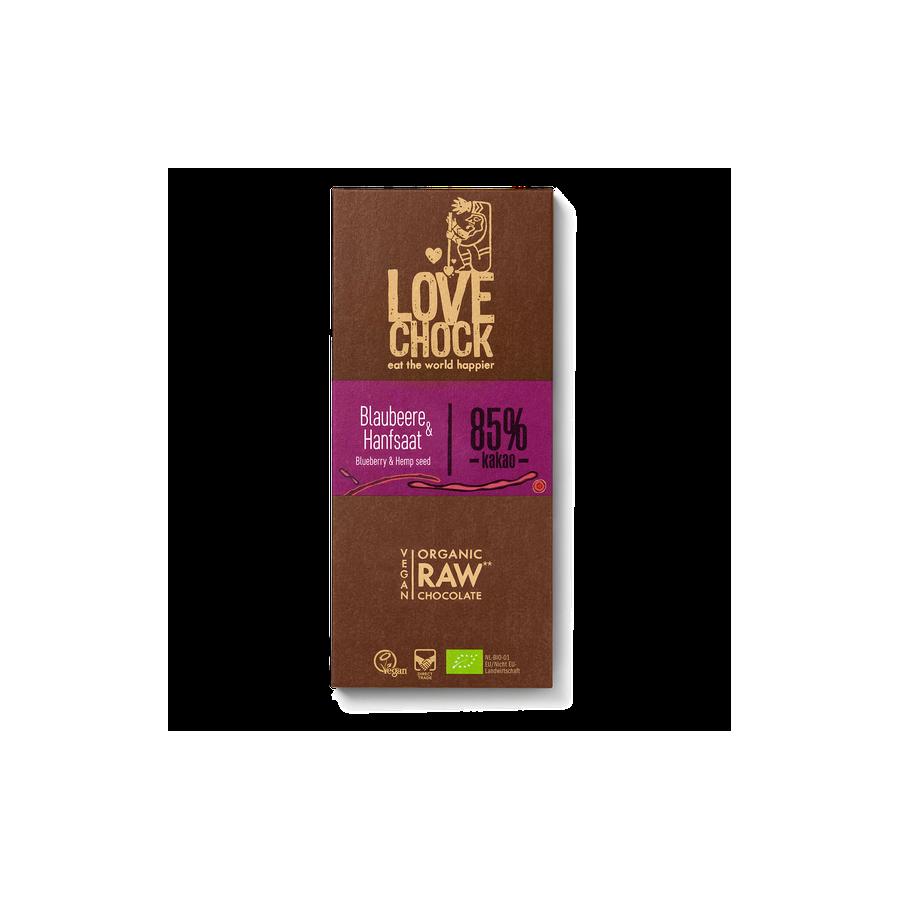 Čokoláda Lovechock- čučoriedky a konopné semienka
