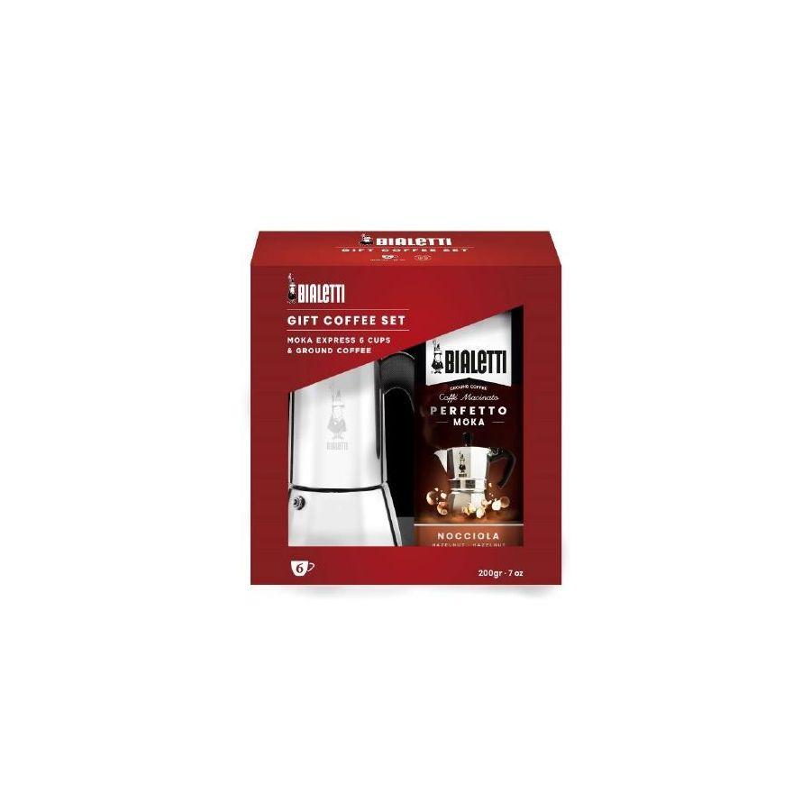 Bialetti Venus 6 csészés kotyogó kávéfőző indukciós főzőlapra + kávé (díszdoboz)