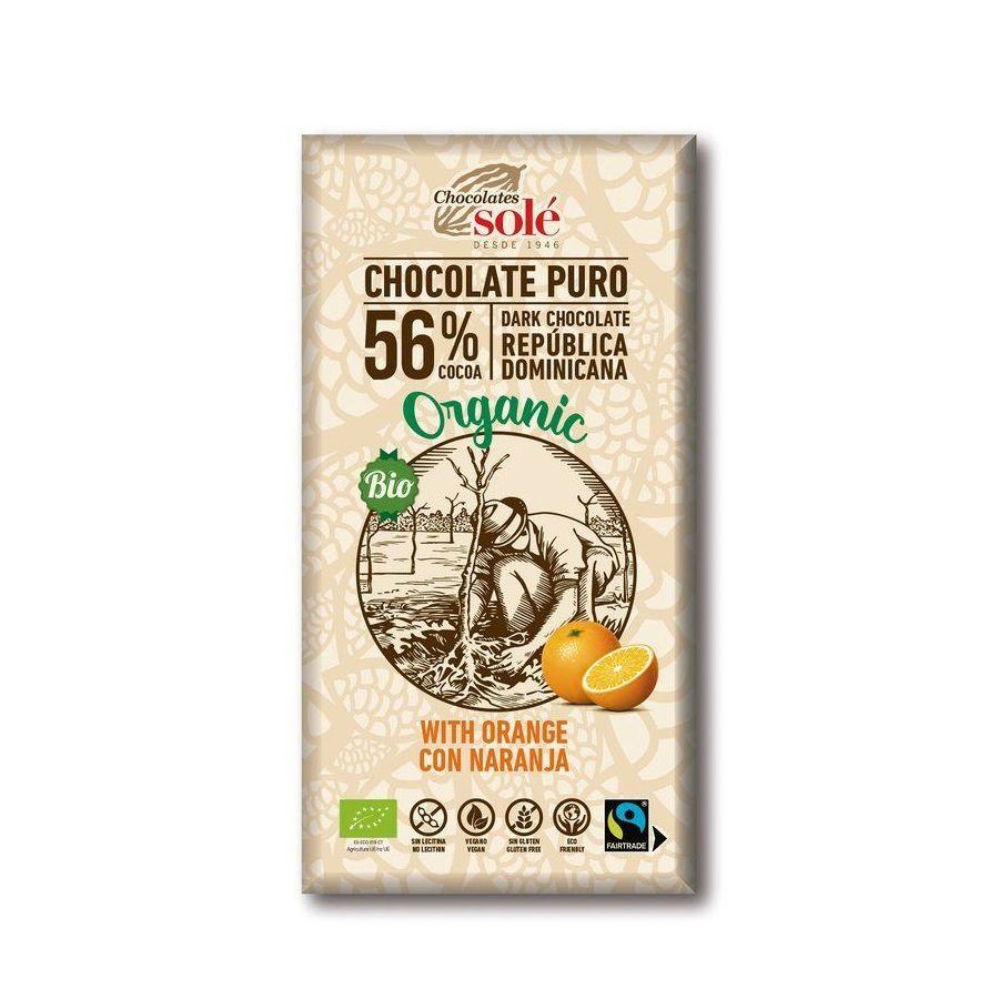 Chocolates Solé - 56% bio čokoláda s pomarančom