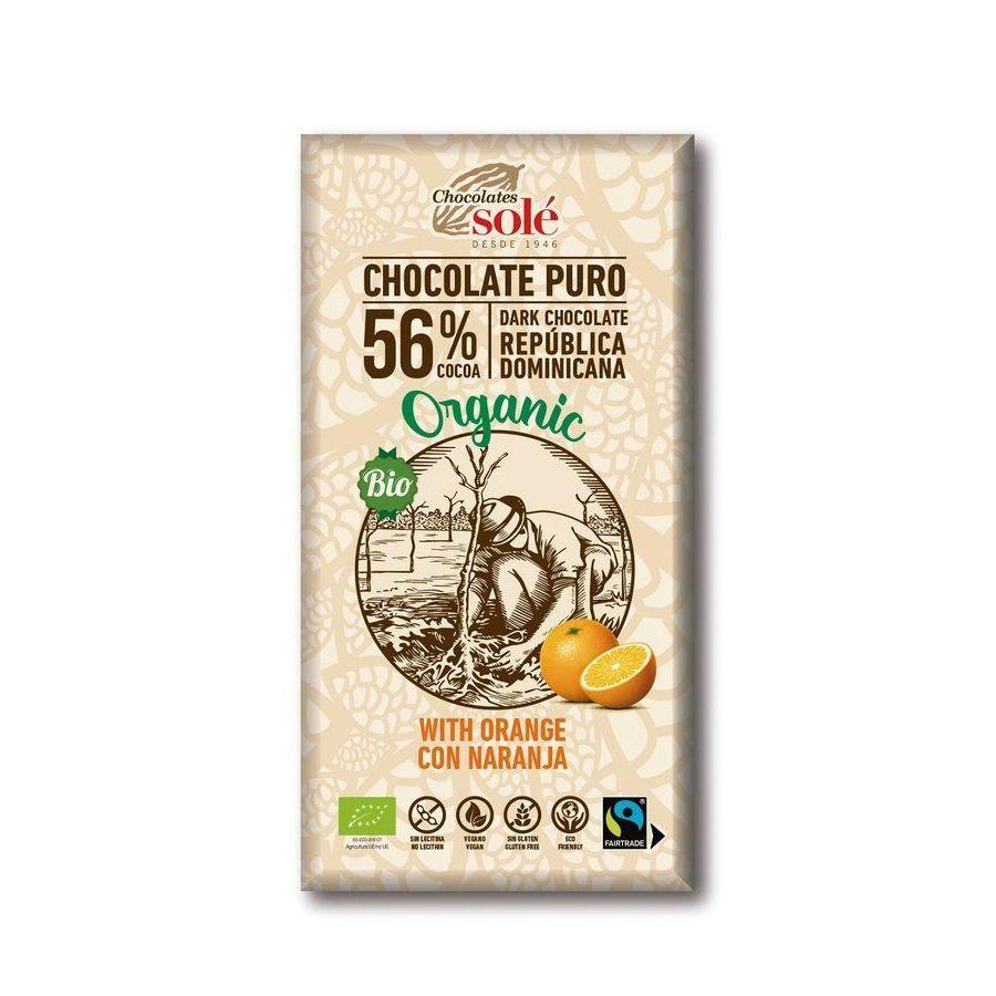 Chocolates Solé - 56% bio čokoláda s pomerančem