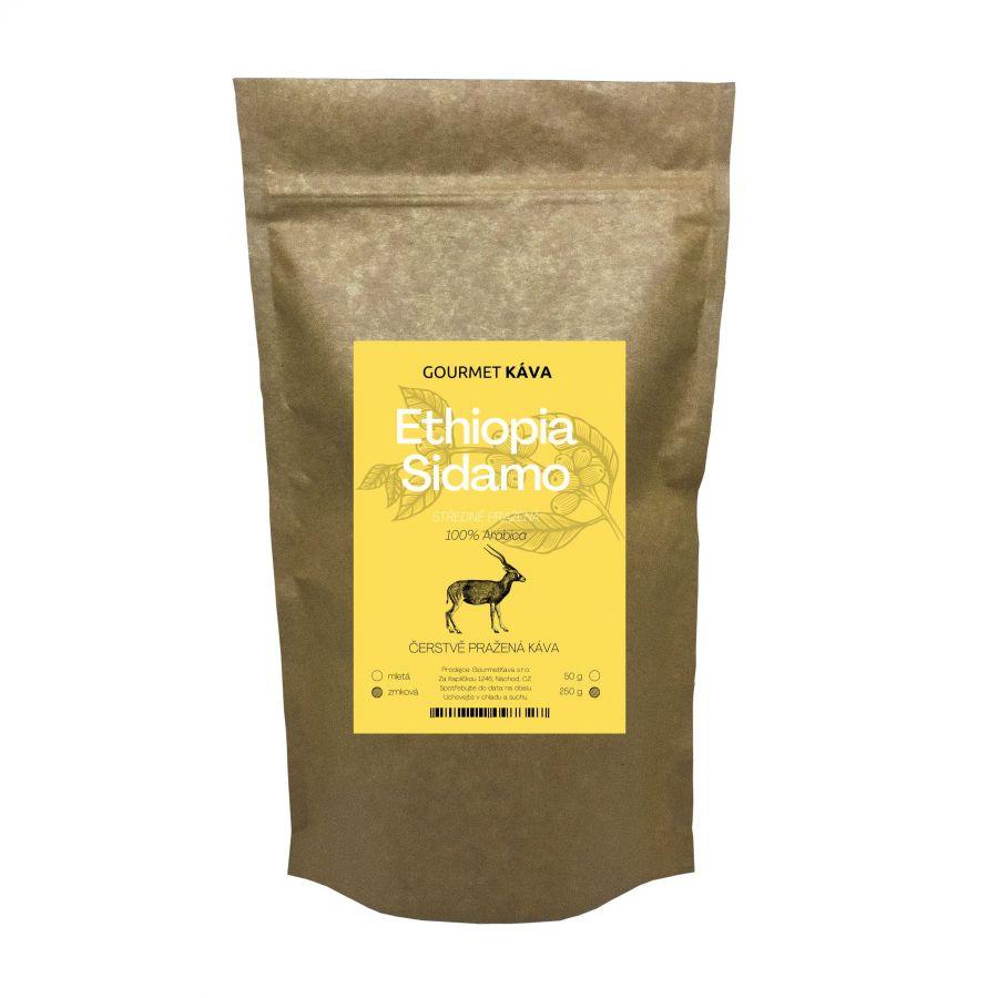 Etiópia: Sidamo, zrnková káva arabica, STREDNE PRAŽENÁ