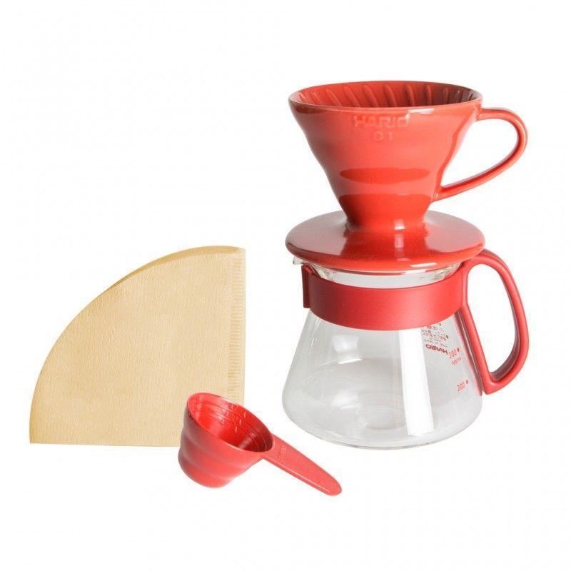 Hario Pour Over Kit kerámia V60-01 piros