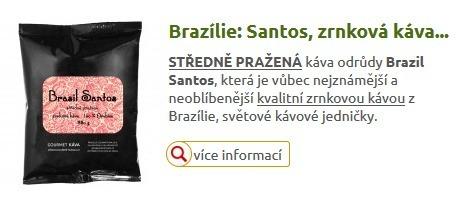 Brasílie Santos, zrnková, středně pražená