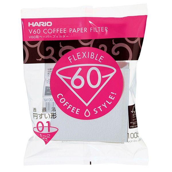 Papírové filtry Hario V60 1 (VCF-01-100W) - 100 ks, bílé