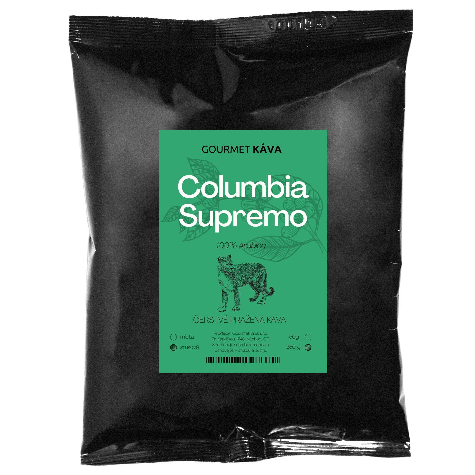 Gourmet Káva Kolumbie Supremo, zrnková, 250 g