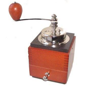 Ruční mlýnek na kávu Lodos 1945, lososová červená / wenge