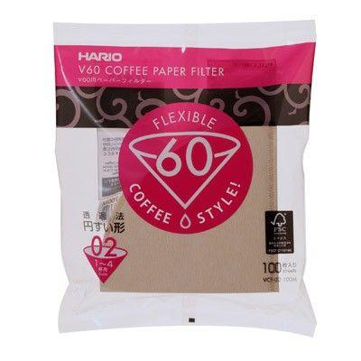Papírové filtry Hario V60-02 100 ks, nebělené (VCF-02-100M)