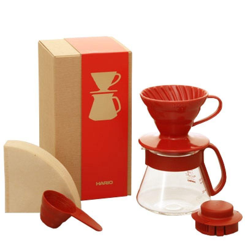 Hario Pour Over Kit Ceramic V60-01 red